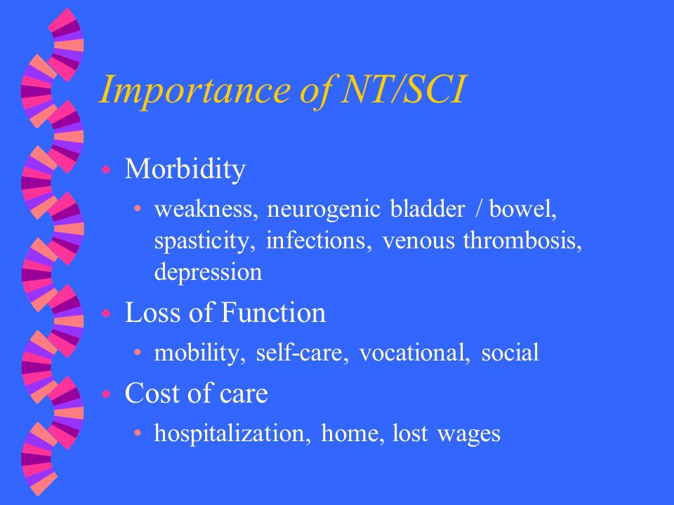 Importance of NT/SCI Morbidity Loss of Function Cost of care