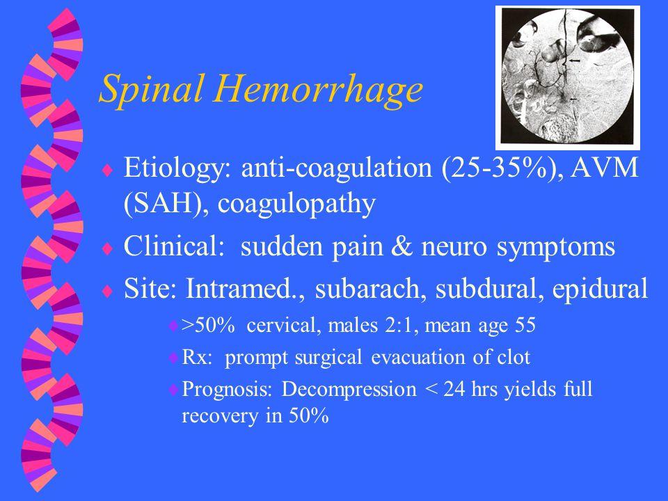 Spinal Hemorrhage Etiology: anti-coagulation (25-35%), AVM (SAH), coagulopathy. Clinical: sudden pain & neuro symptoms.