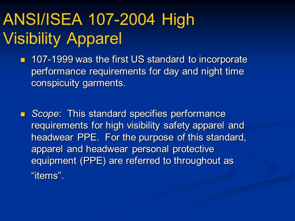 ANSI/ISEA 107-2004 High Visibility Apparel