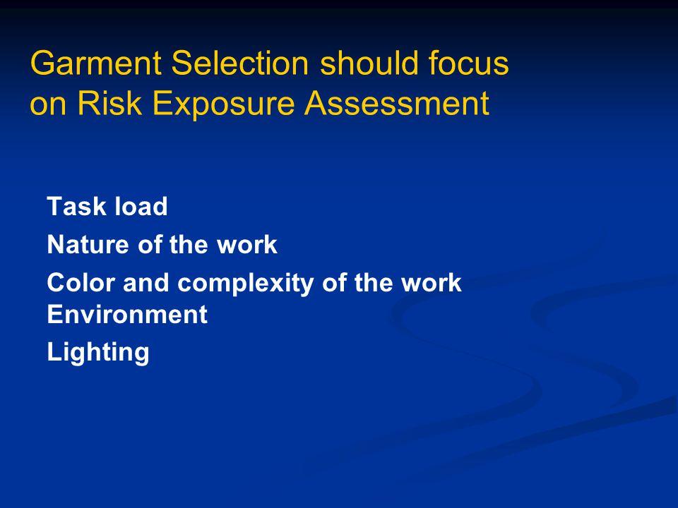 Garment Selection should focus on Risk Exposure Assessment