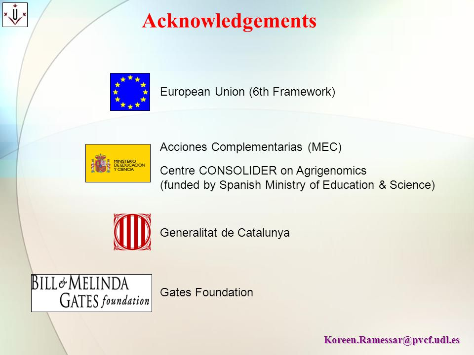 Acknowledgements European Union (6th Framework)