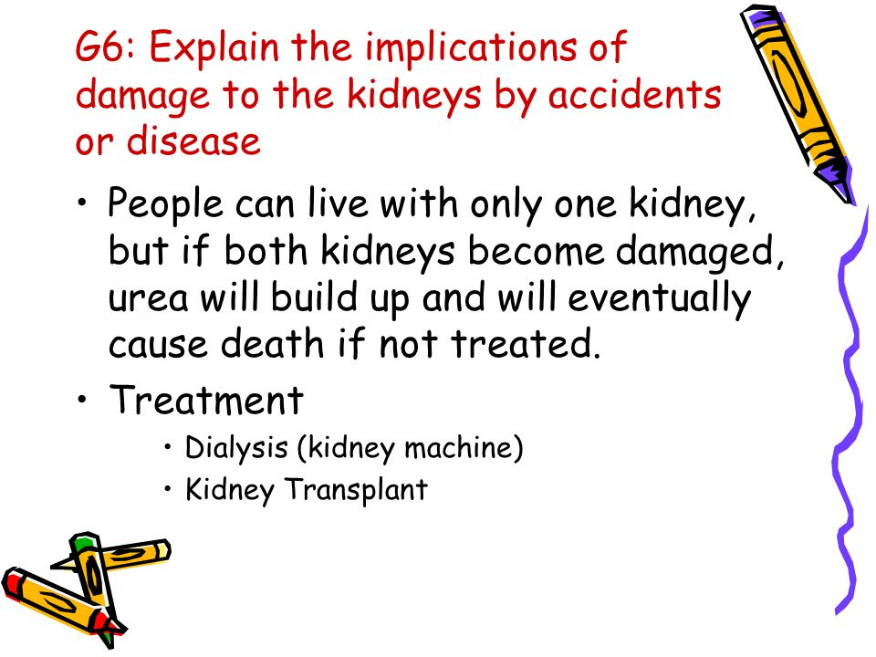 G6: Explain the implications of damage to the kidneys by accidents or disease