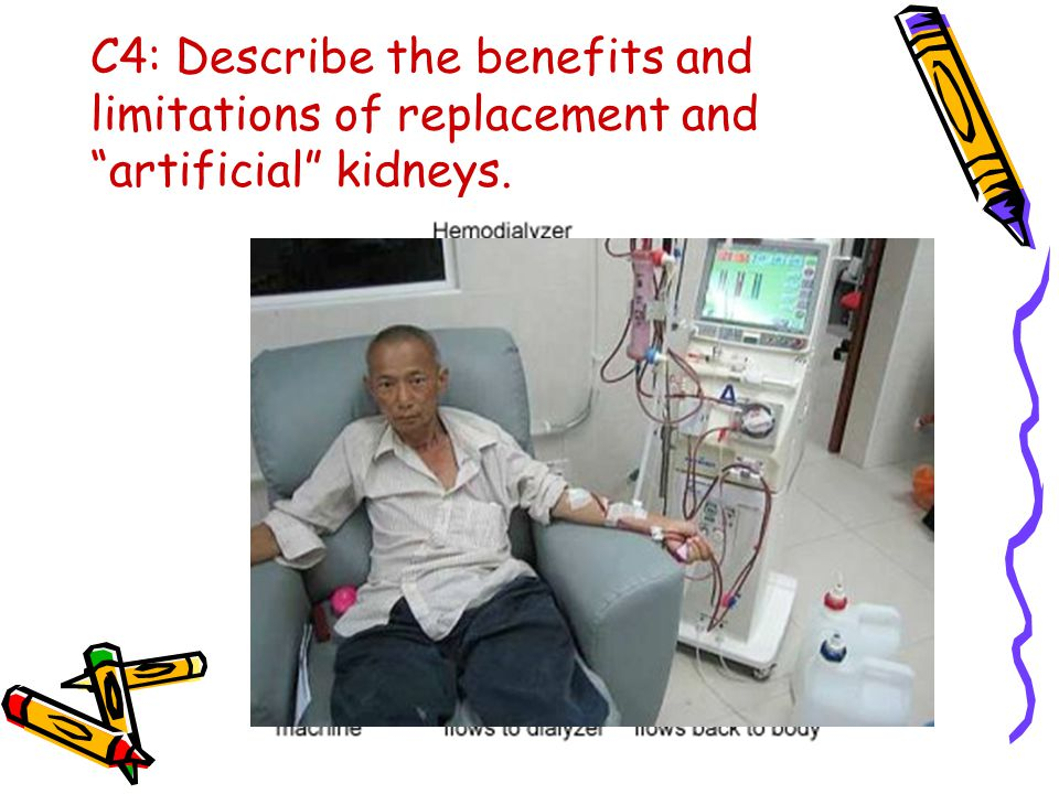 C4: Describe the benefits and limitations of replacement and artificial kidneys.