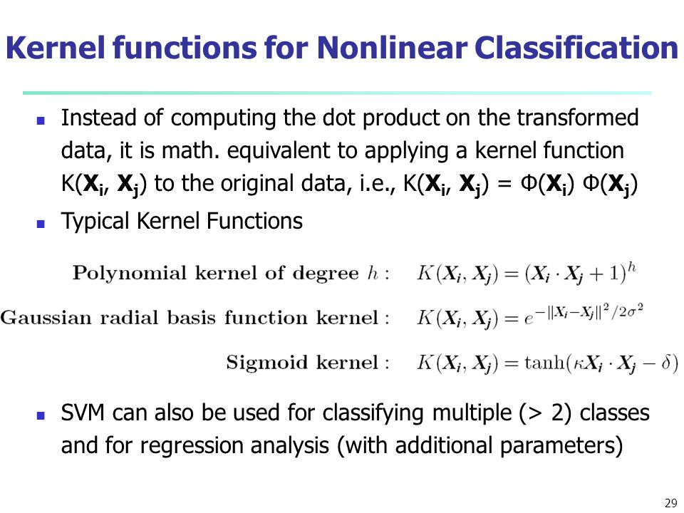 Kernel functions for Nonlinear Classification
