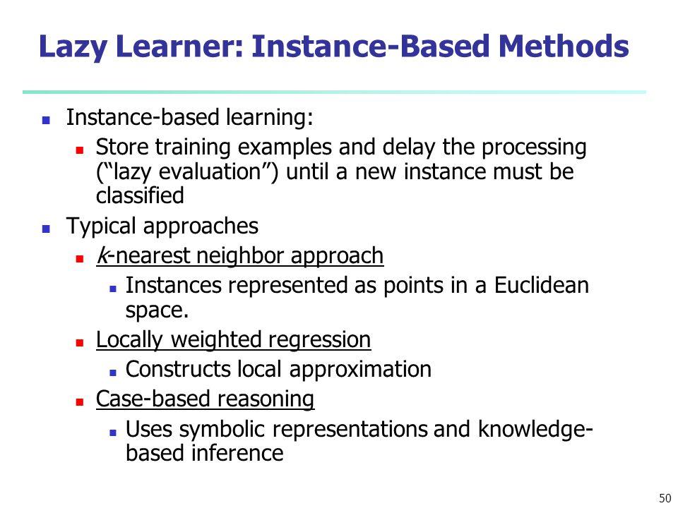 Lazy Learner: Instance-Based Methods