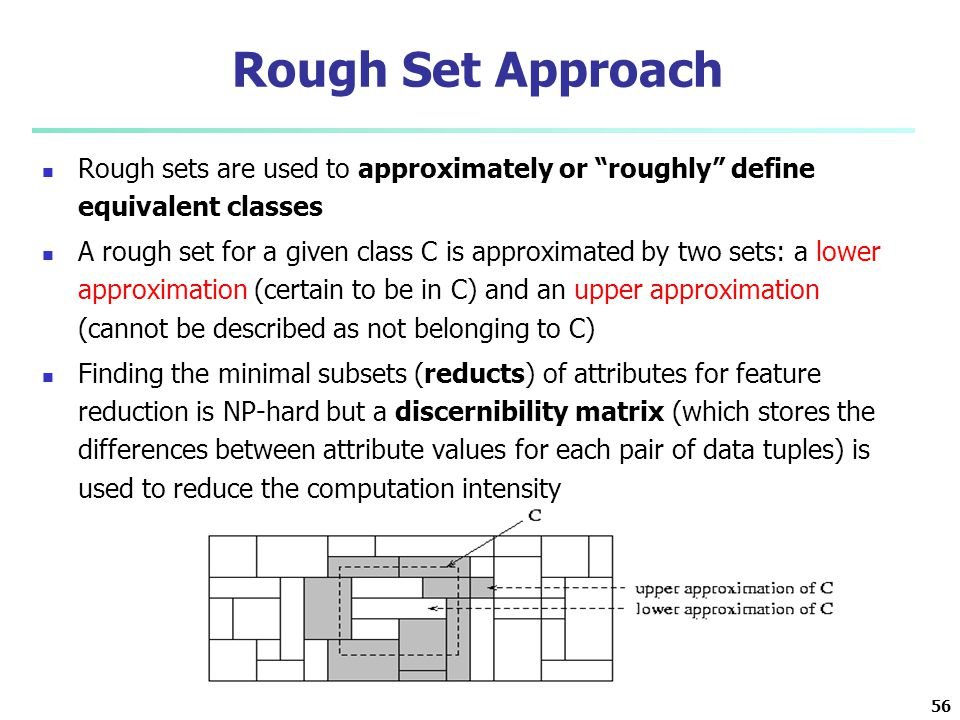 Rough Set Approach Rough sets are used to approximately or roughly define equivalent classes.