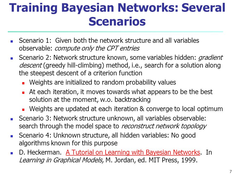 Training Bayesian Networks: Several Scenarios
