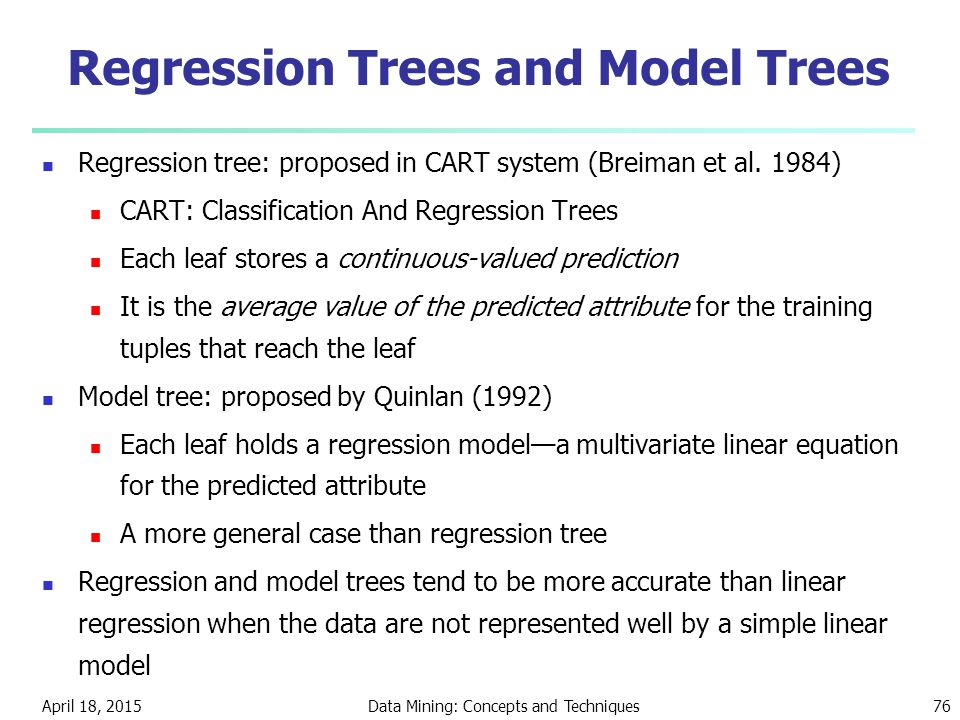 Regression Trees and Model Trees