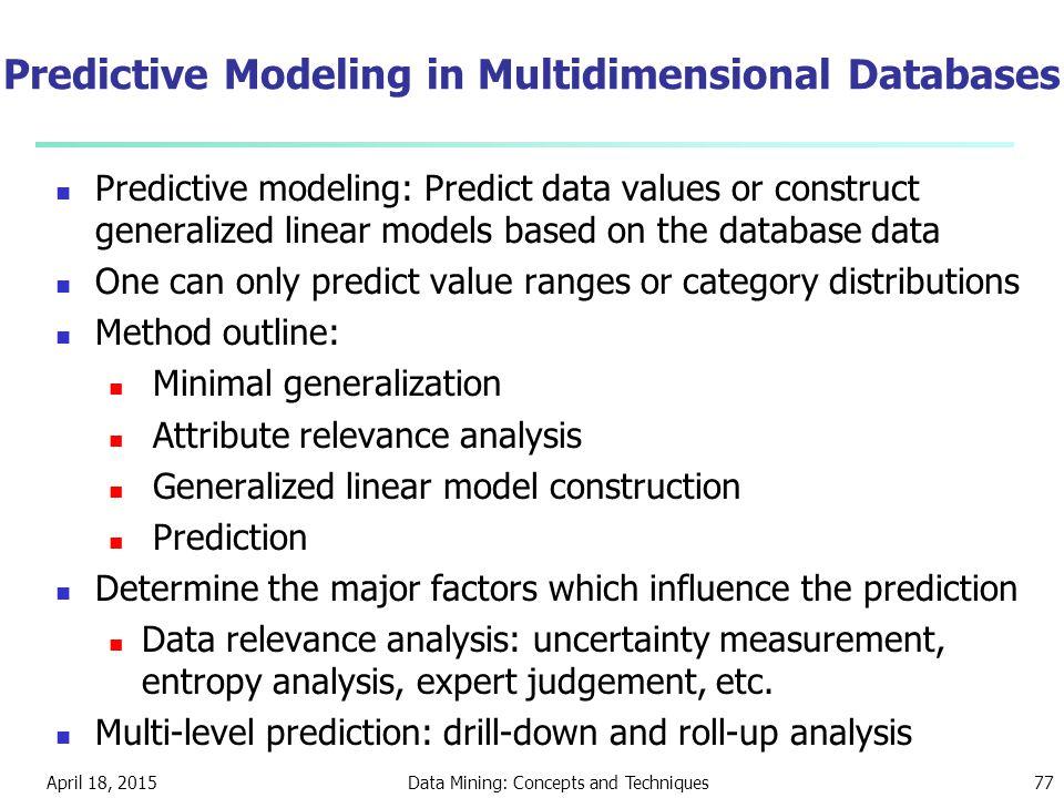 Predictive Modeling in Multidimensional Databases