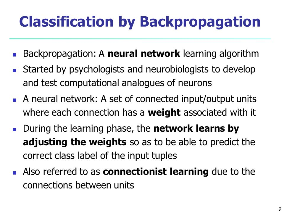 Classification by Backpropagation