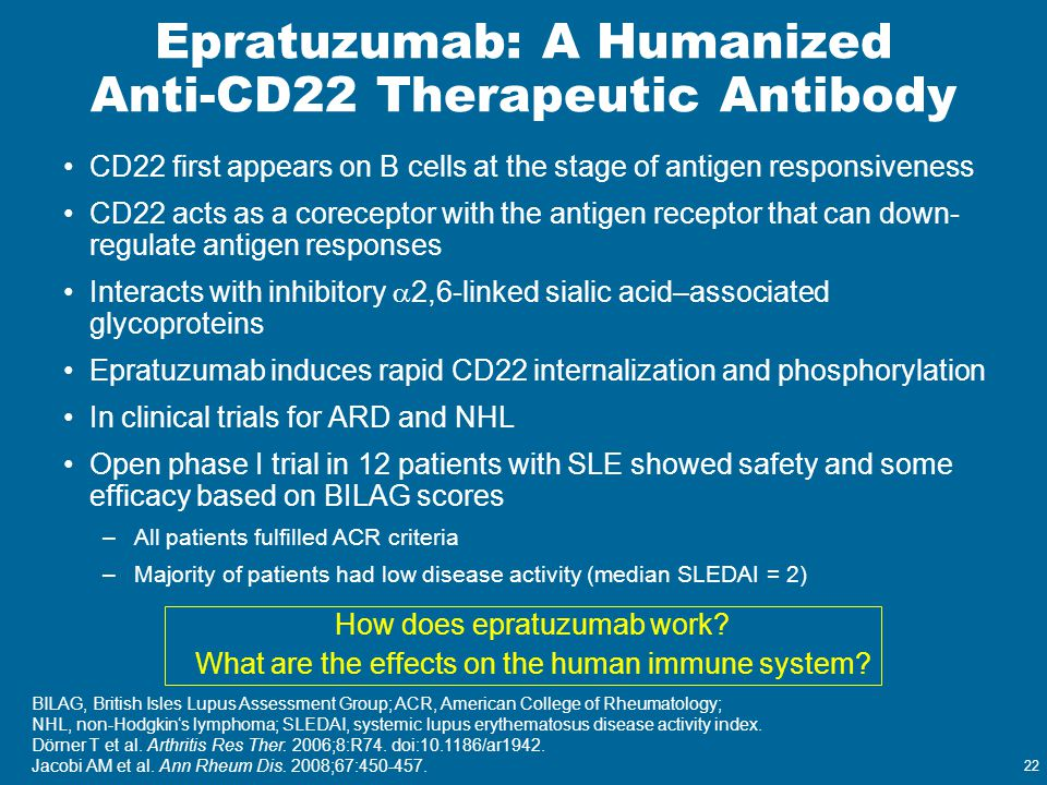 Epratuzumab: A Humanized Anti-CD22 Therapeutic Antibody