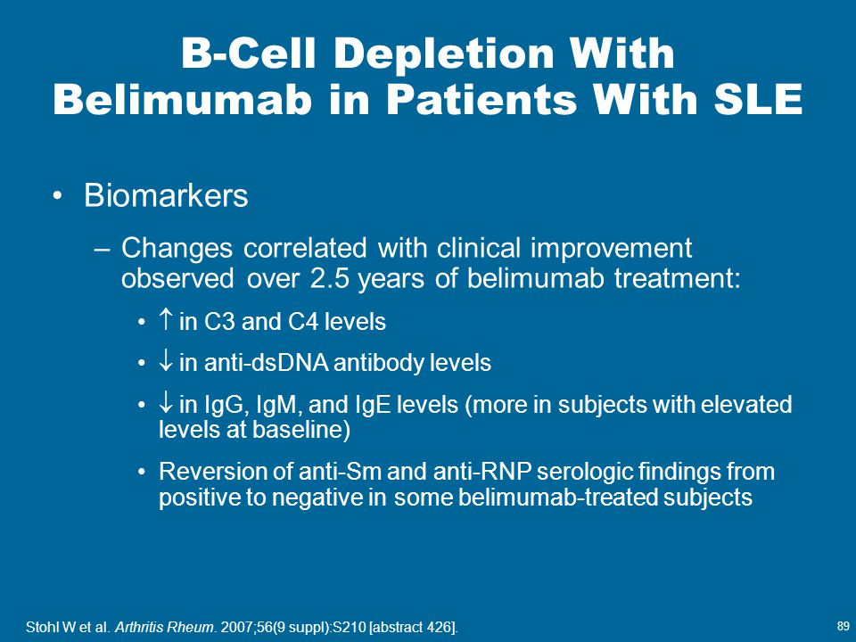 B-Cell Depletion With Belimumab in Patients With SLE