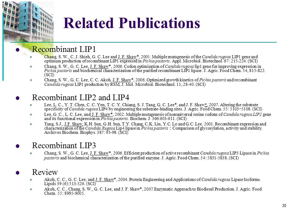 Related Publications Recombinant LIP1 Recombinant LIP2 and LIP4