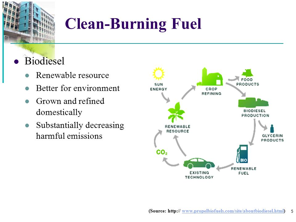 Clean-Burning Fuel Biodiesel Renewable resource Better for environment