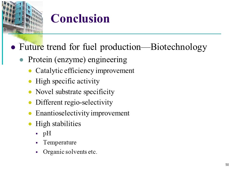 Conclusion Future trend for fuel production—Biotechnology
