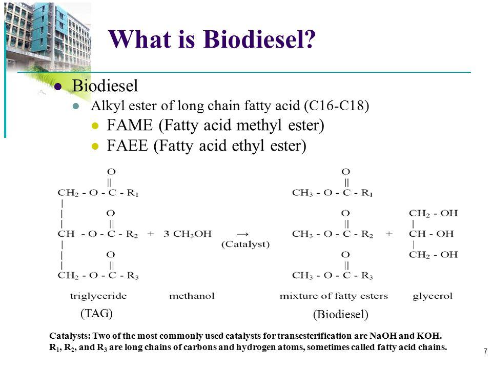 What is Biodiesel Biodiesel FAME (Fatty acid methyl ester)
