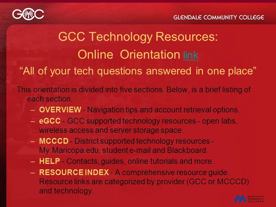 GCC Technology Resources: Online Orientation link