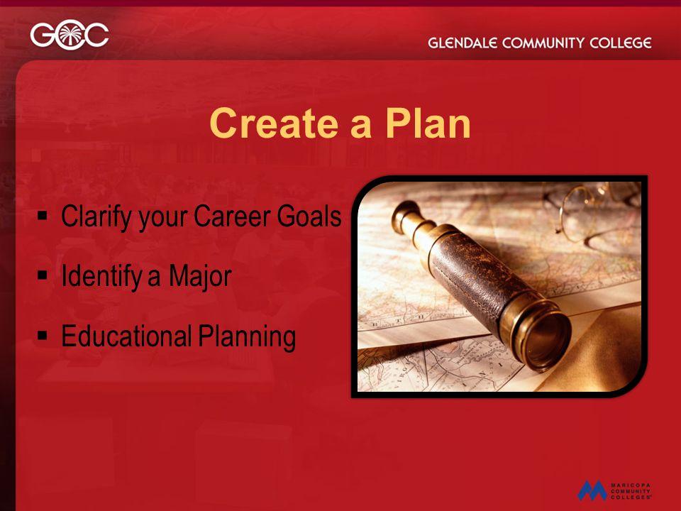 Create a Plan Clarify your Career Goals Identify a Major