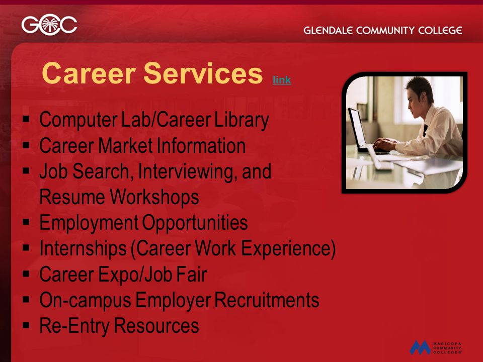 Career Services link Computer Lab/Career Library