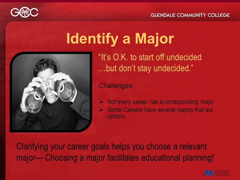 Identify a Major It's O.K. to start off undecided