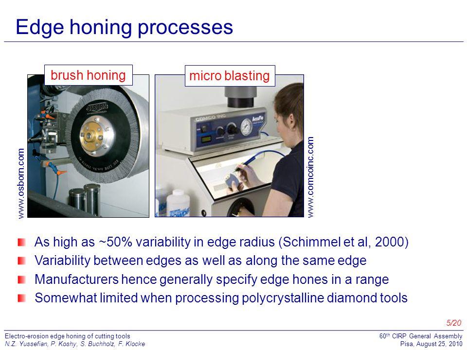 Edge honing processes brush honing micro blasting