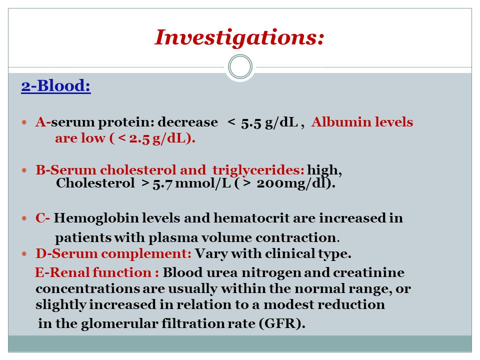 Investigations: 2-Blood:
