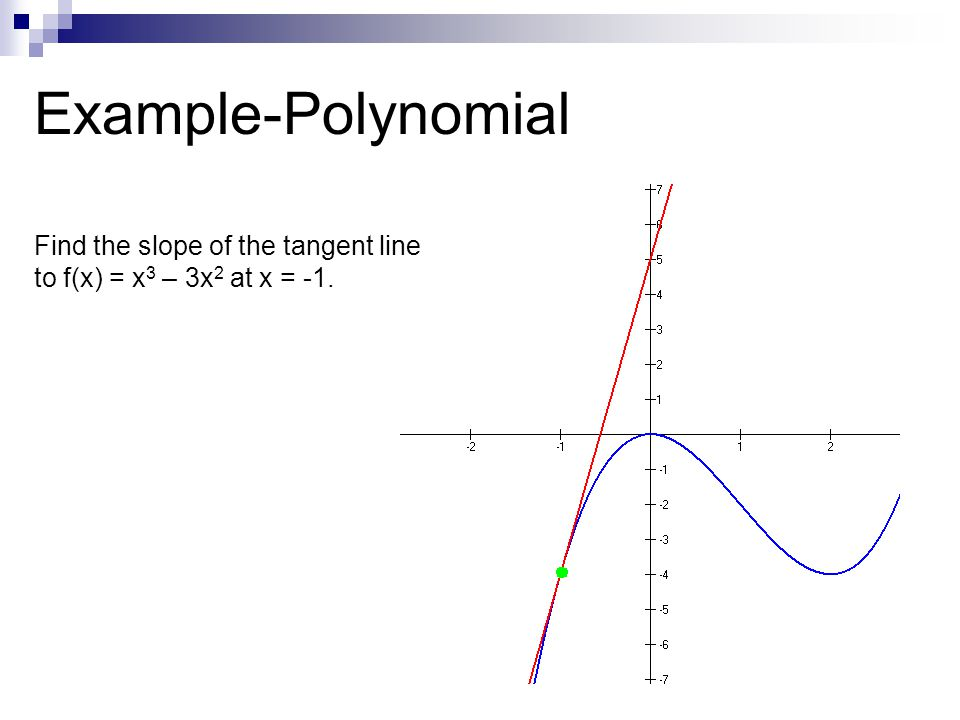 Example-Polynomial Find the slope of the tangent line to f(x) = x3 – 3x2 at x = -1.
