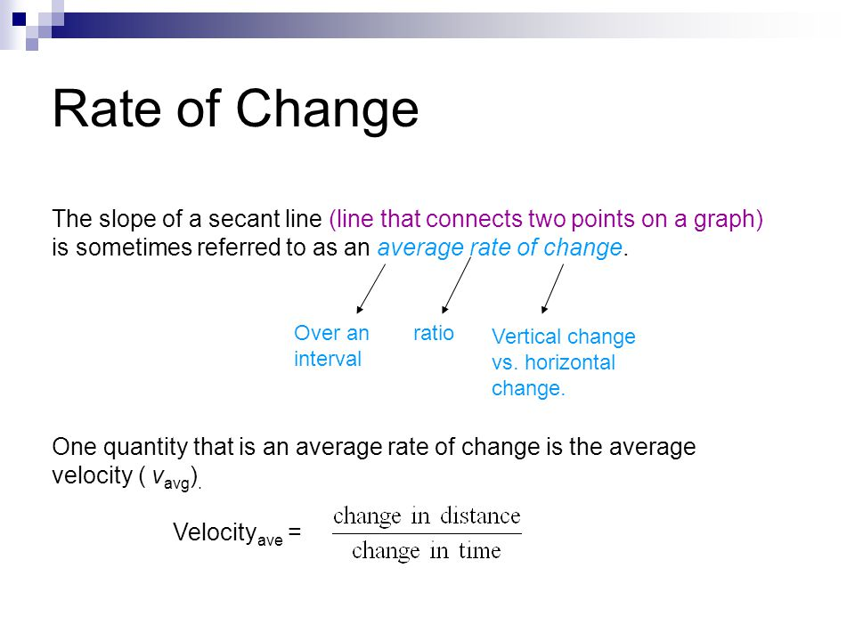Rate of Change The slope of a secant line (line that connects two points on a graph) is sometimes referred to as an average rate of change.