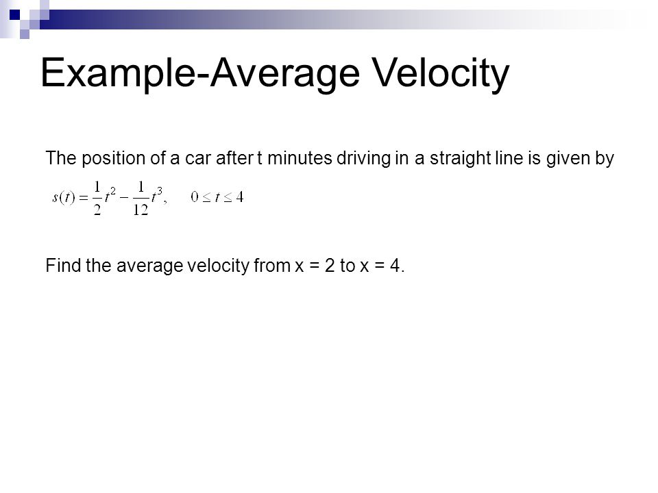 Example-Average Velocity