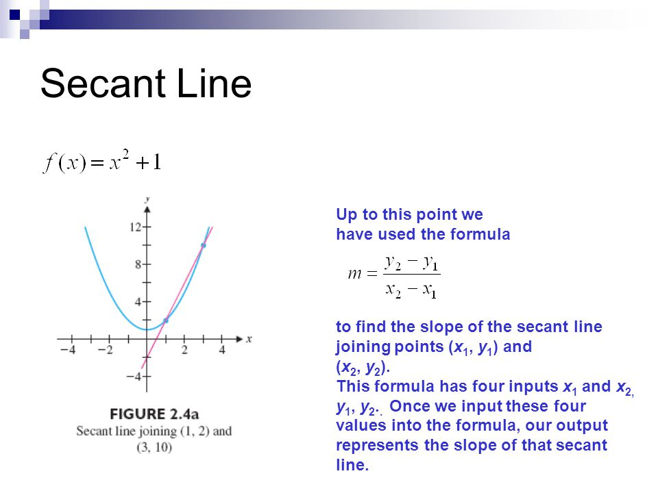 Secant Line Up to this point we have used the formula
