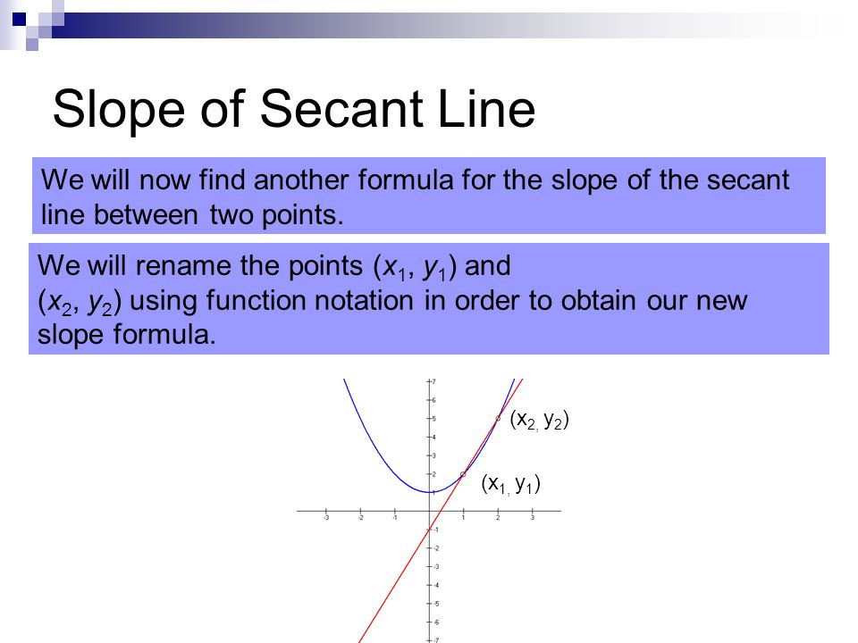 Slope of Secant Line We will now find another formula for the slope of the secant line between two points.