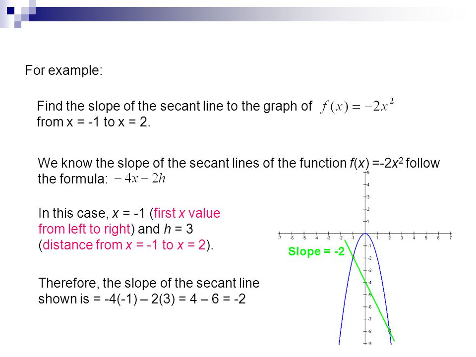 For example: Find the slope of the secant line to the graph of from x = -1 to x = 2.