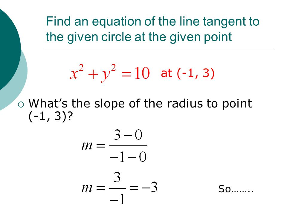 Find an equation of the line tangent to the given circle at the given point