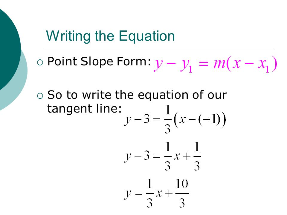 Writing the Equation Point Slope Form: