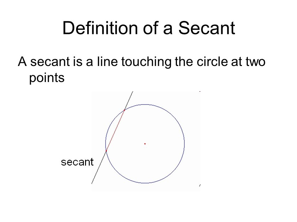 Definition of a Secant A secant is a line touching the circle at two points