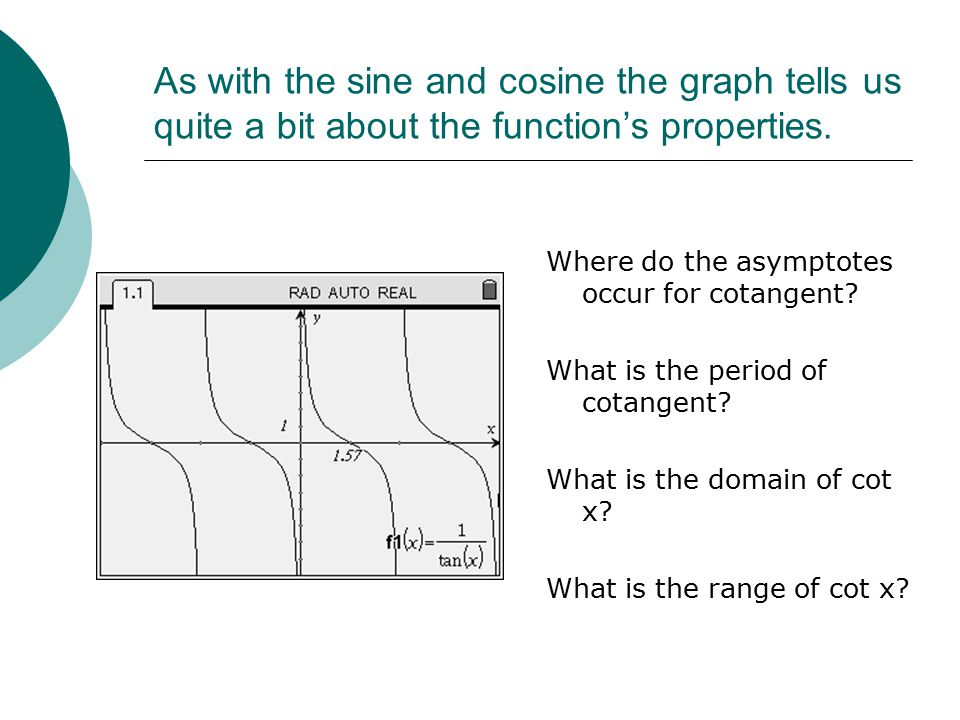 As with the sine and cosine the graph tells us quite a bit about the function's properties.