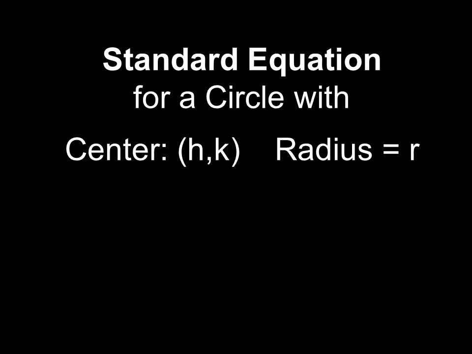 Standard Equation for a Circle with Center: (h,k) Radius = r
