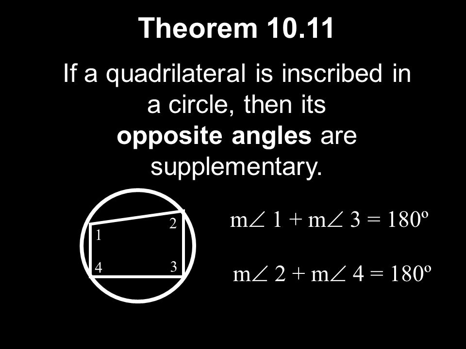 Theorem 10.11 If a quadrilateral is inscribed in a circle, then its
