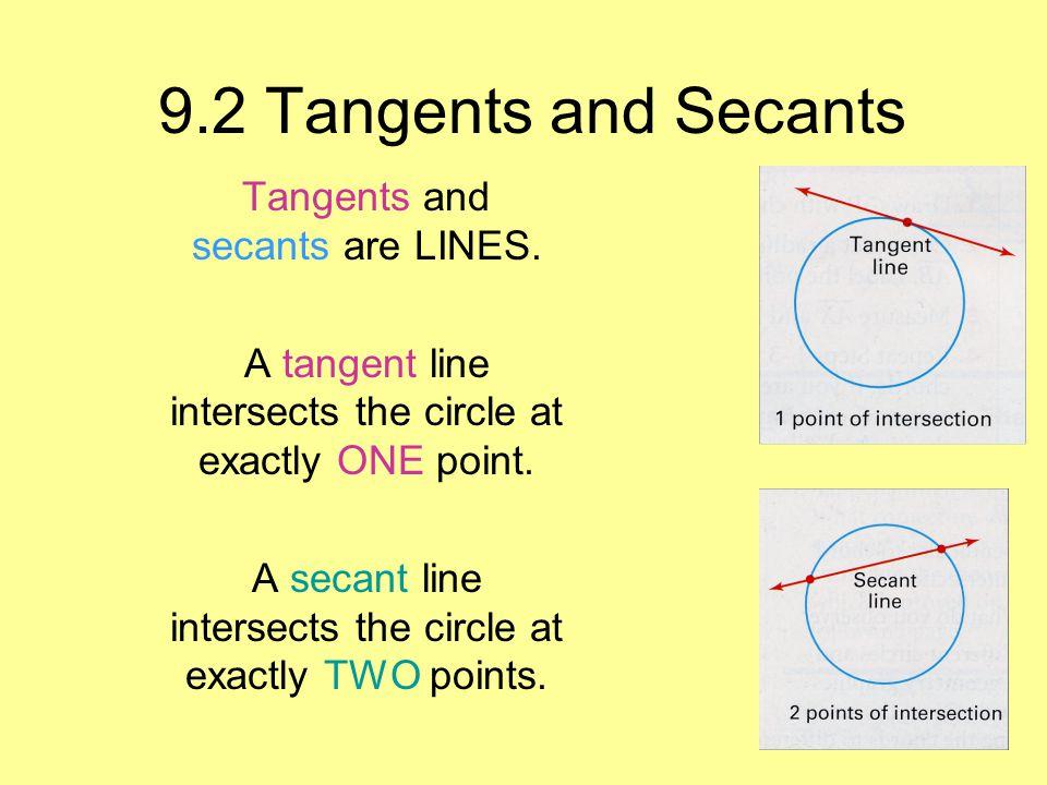 9.2 Tangents and Secants Tangents and secants are LINES.
