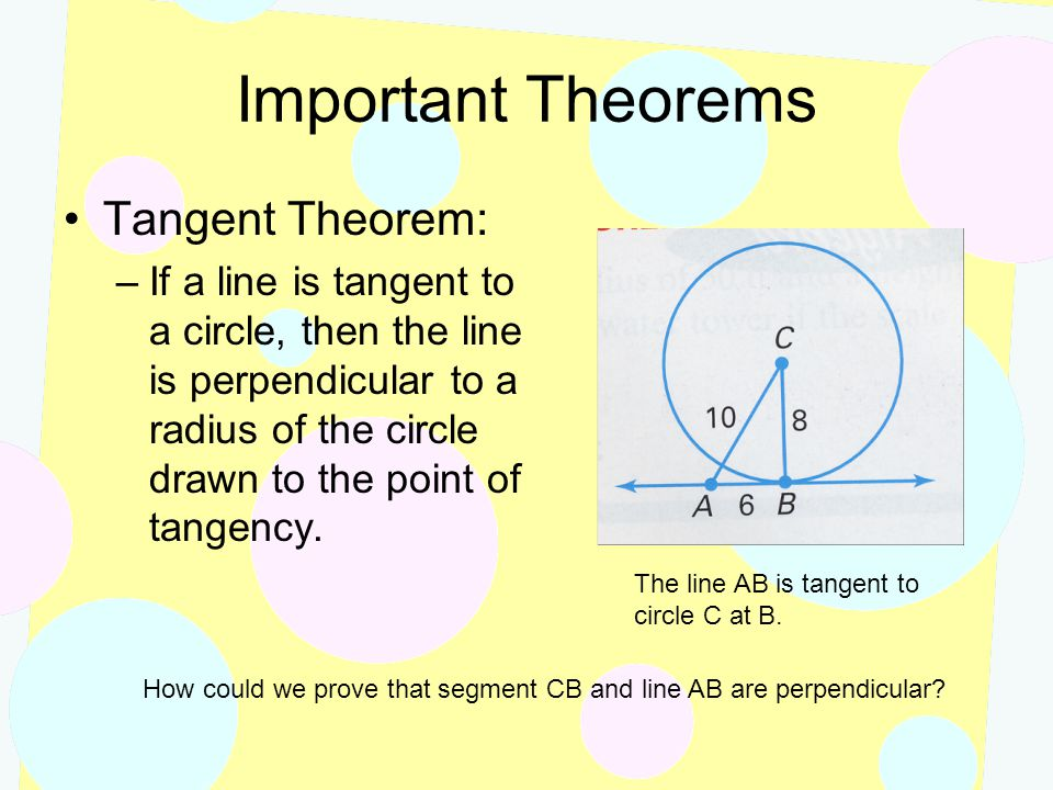 Important Theorems Tangent Theorem: