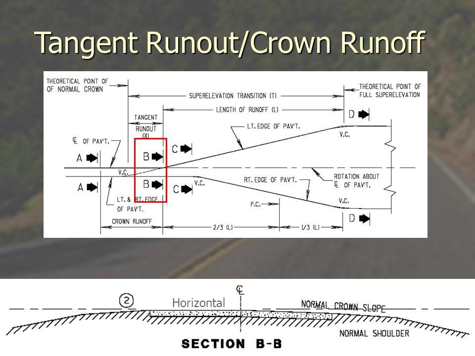 Tangent Runout/Crown Runoff
