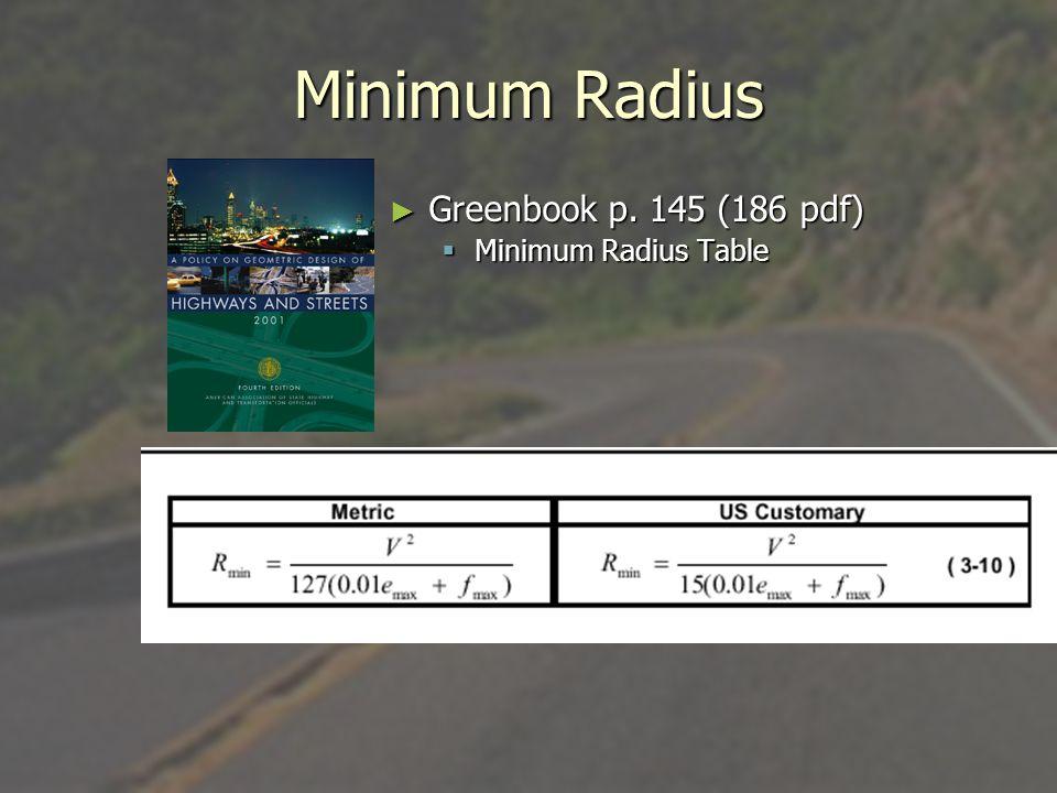 Minimum Radius Greenbook p. 145 (186 pdf) Minimum Radius Table