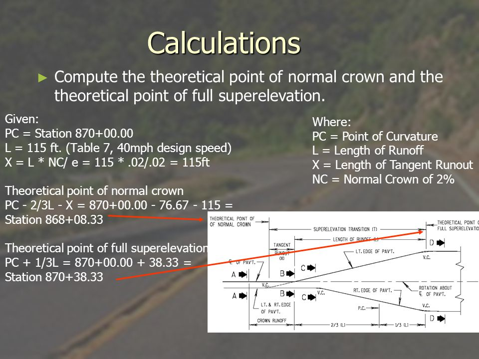 Calculations Compute the theoretical point of normal crown and the theoretical point of full superelevation.