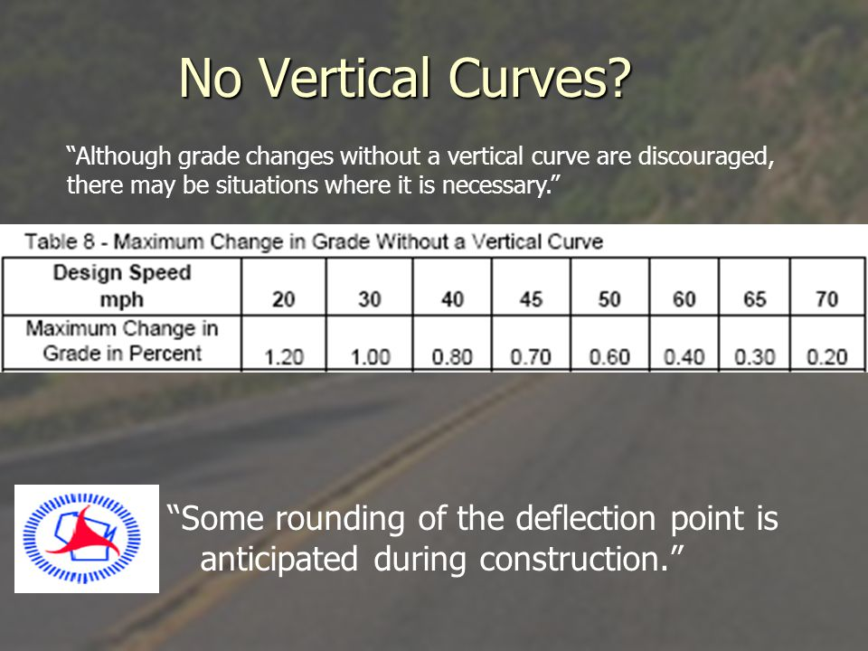 No Vertical Curves Although grade changes without a vertical curve are discouraged, there may be situations where it is necessary.