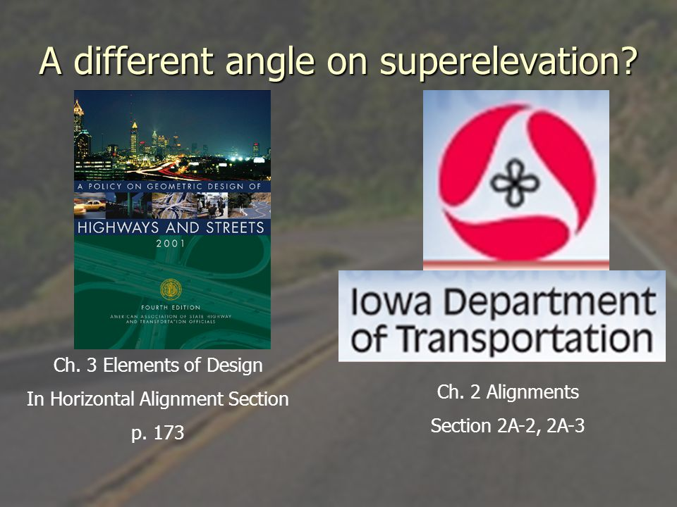 A different angle on superelevation