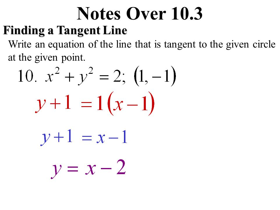 Notes Over 10.3 Finding a Tangent Line