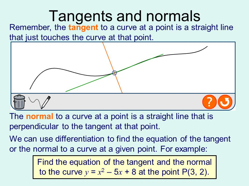 Tangents and normals Remember, the tangent to a curve at a point is a straight line that just touches the curve at that point.