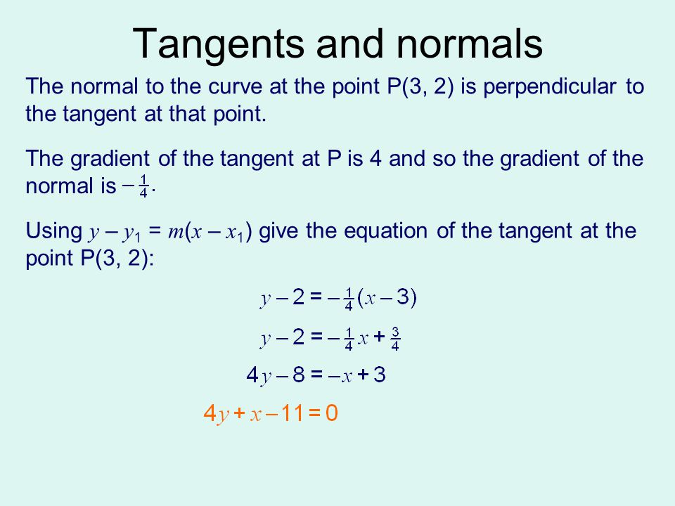 Tangents and normals The normal to the curve at the point P(3, 2) is perpendicular to the tangent at that point.