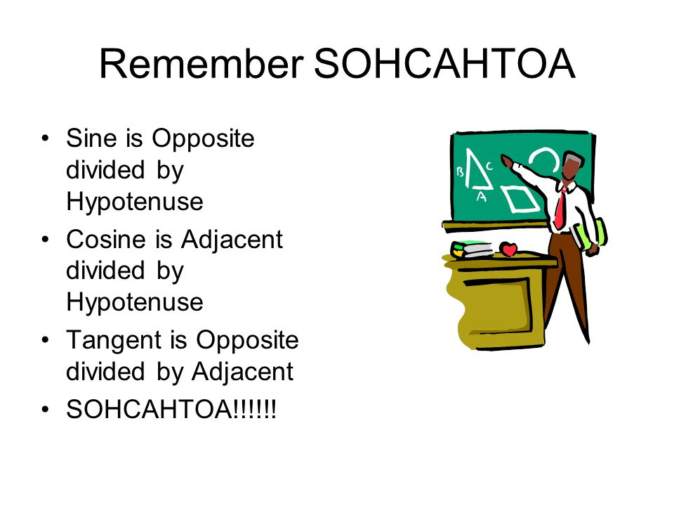 Remember SOHCAHTOA Sine is Opposite divided by Hypotenuse