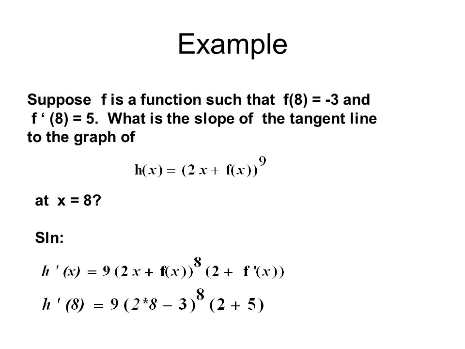 Example Suppose f is a function such that f(8) = -3 and